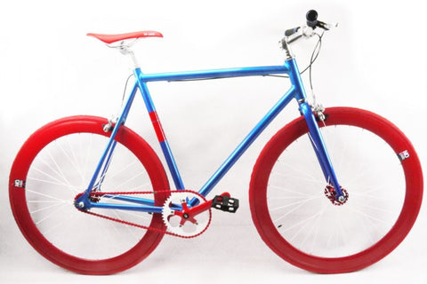 No Logo Blue Red Single Speed Bike