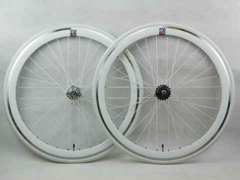 No Logo 40mm 700c White/Silver Hubs Track/Fixie Deep V Wheelset Tyres & Tubes