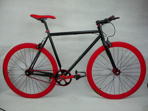 Black/Red Single Speed Fixed Gear Track Bike - 59cm Frame