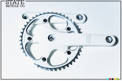 State Bicycle Co White 165mm Track Fixie Fixed Gear Crankset