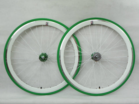 No Logo 40mm White Track/Fixie Deep V Wheelset - Flip Flop Hubs - SOME SCRATCHES