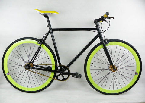 Black/Green Single Speed Bike Fixie/Fixed Gear Track Bike - 53cm Frame