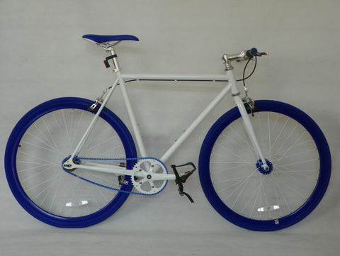 White/Blue Single Speed Bike Fixie/Fixed Gear Track Bike - 59cm Frame