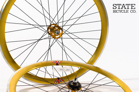 State Bicycle Co Gold w/ Black Spokes Track Wheelset
