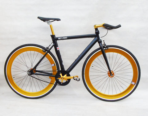 No Logo Bikes 2015 Single Speed/Fixed Gear Bike Black Gold