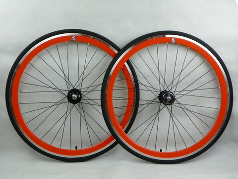 No Logo Orange Track/Fixie Deep V 700c Wheelset (Front & Rear) Machined - Flip Flop Hubs