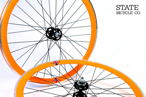 State Bicycle Co Orange Track Wheelset