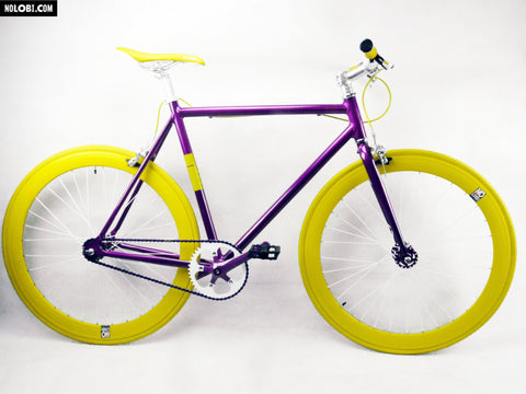 No Logo Purple/Yellow Single Speed Bike Fixie/Fixed Gear Track Bike - 59cm Frame