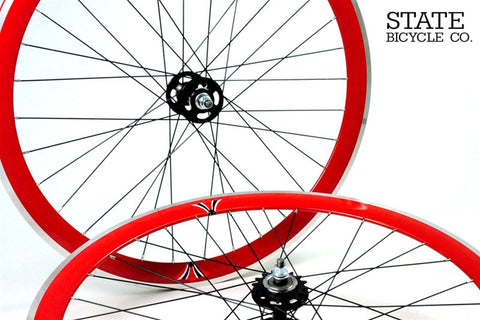 State Bicycle Co Red Track Wheelset