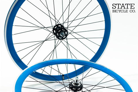 State Bicycle Co Blue Track Wheelset