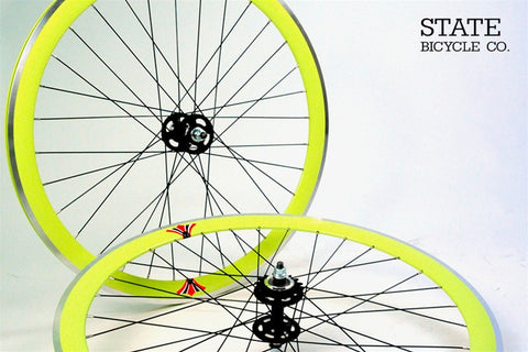 State Bicycle Co Neon Yellow Track Wheelset
