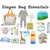 Image with various items. text at the top saying Diaper bag essentials. Items starting from the left  Diaper bag, a onsie, beanie, reusable food pouches, underneath a set of diapers, baby cream, baby wipes, sippy cups, a giraffe doll and a sheep doll