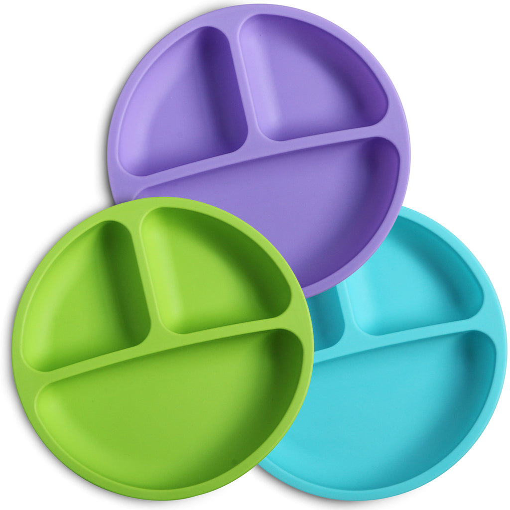 Purpler, Green, and Blue Silicone Divided toddler plates