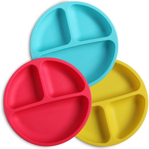 Silicone divided plates for toddlers in blue, red and yellow