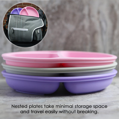 Stack of divided toddler silicone plates  with a circle picture in the top left of the image showing them in a bag. with text at the bottom that reads Nested plates make storage space and travel easy without breaking