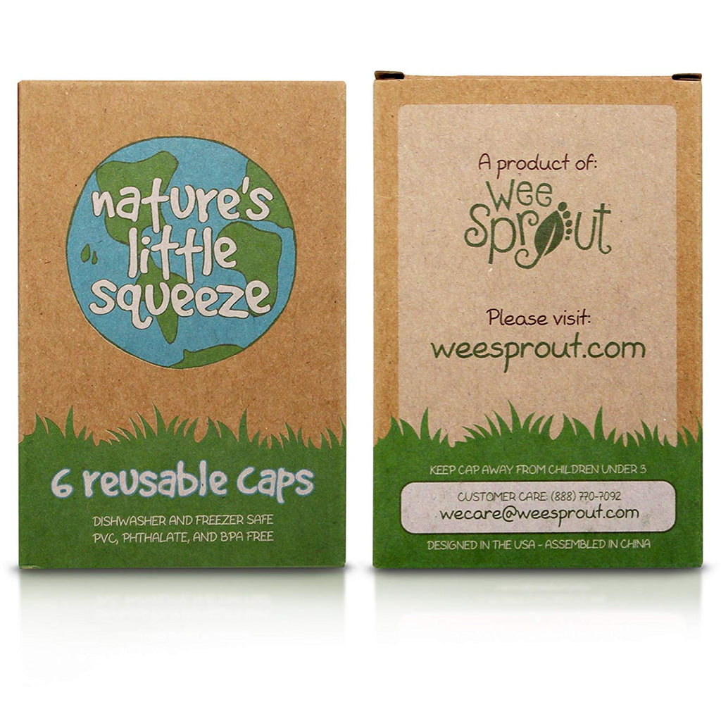 WeeSprout Replacement Caps for Reusable Food Pouches (6 Count) - WeeSprout