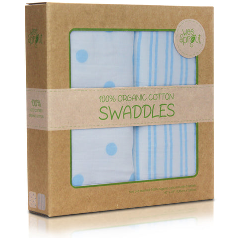 Box of Blue patterned organic cotton swaddle blanket