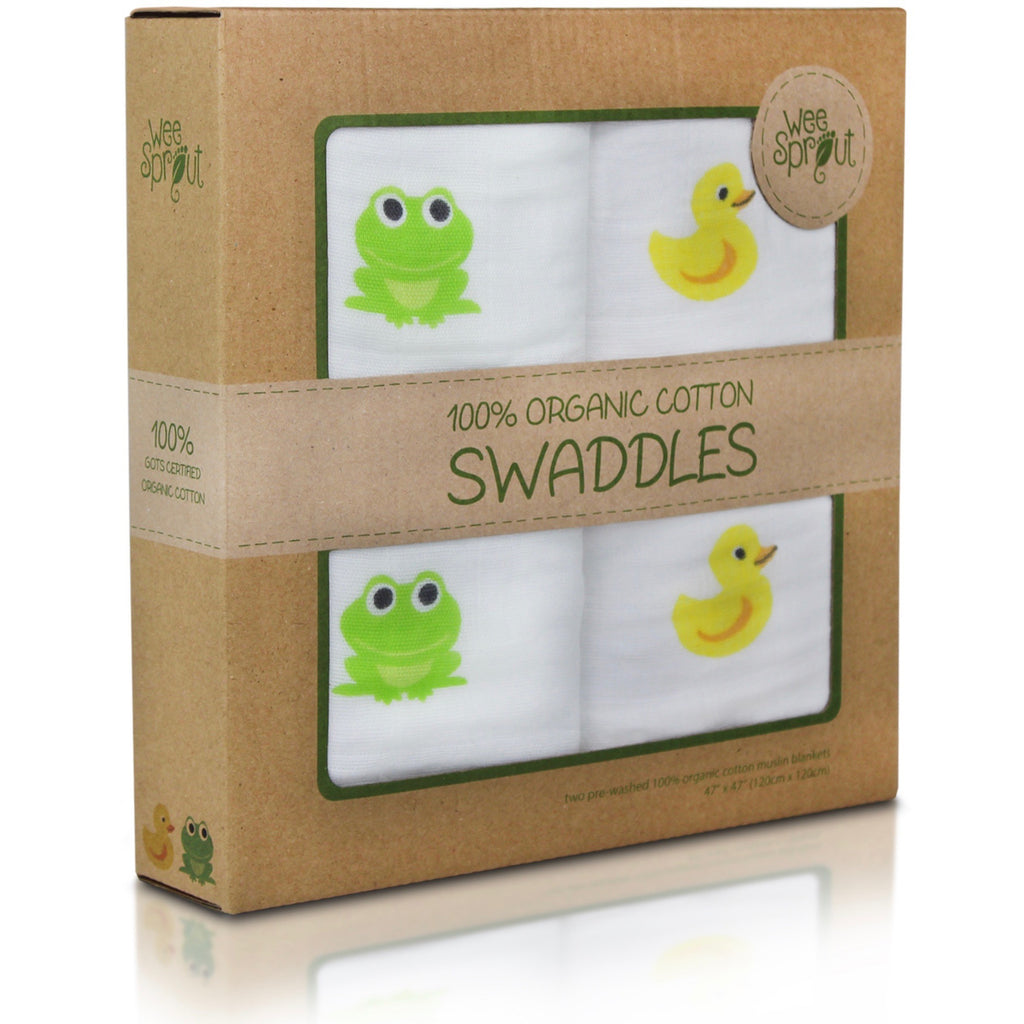Package of Organic cotton swaddle blankets
