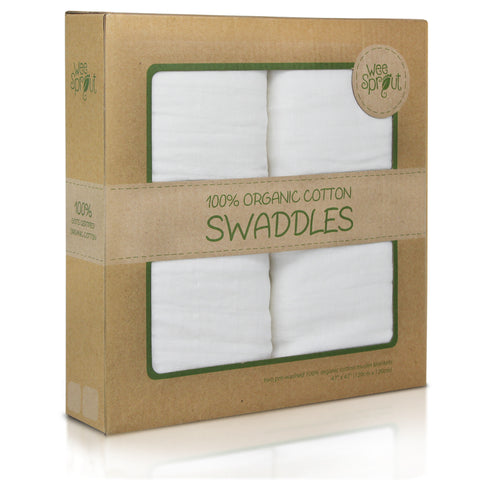 Package of no pattern organic cotton swaddle blanket