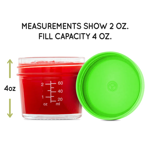 WeeSprout 4oz Jars with Measurement Markings - Baby Food Storage Glass Jars