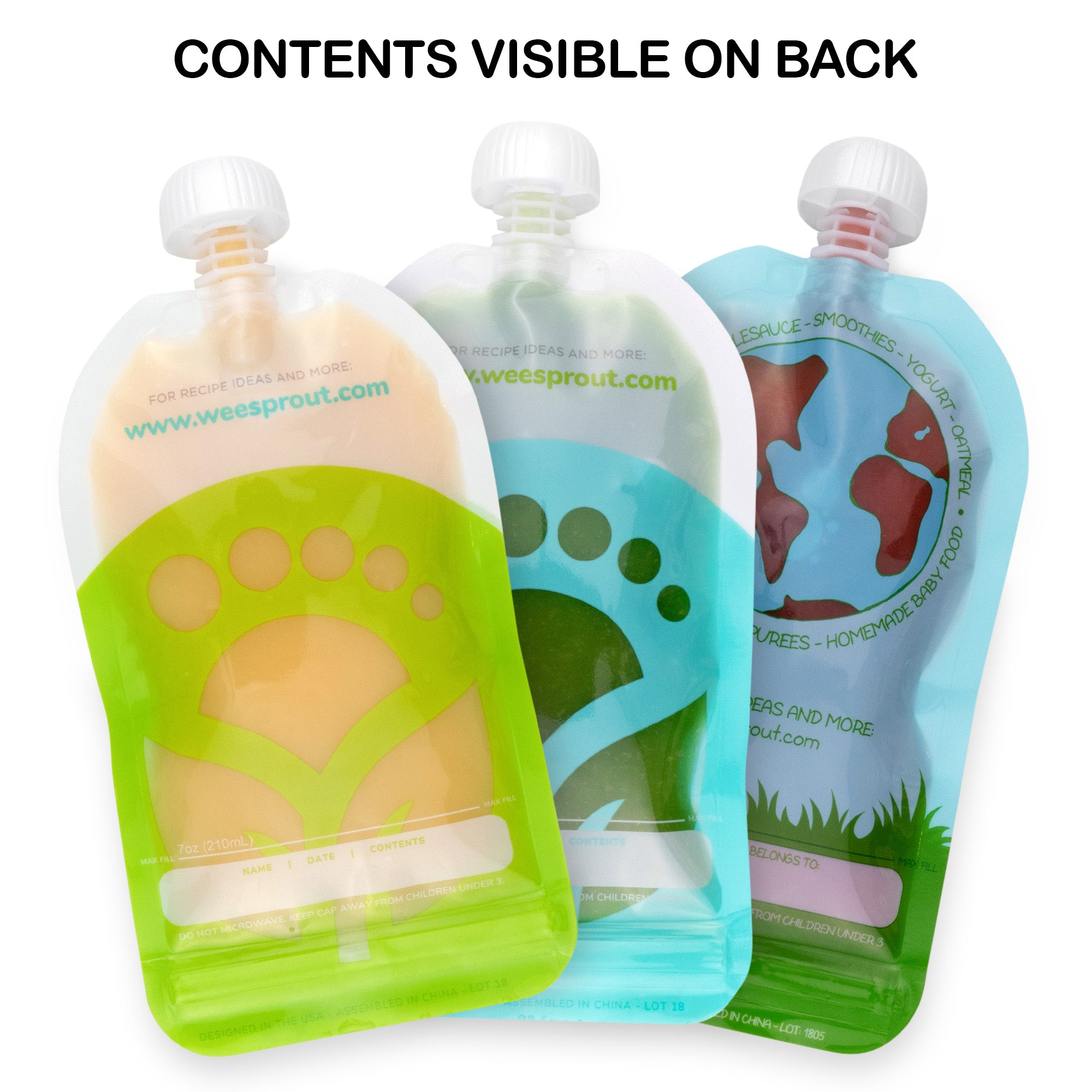 WeeSprout Double Zipper Reusable Food Pouches