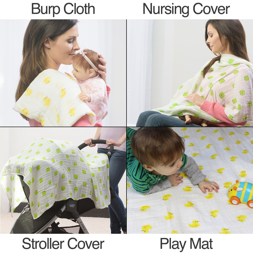 Showing thediffrent uses for the swaddle blanket, burp clot, nursing cover, sun cover, or play mat