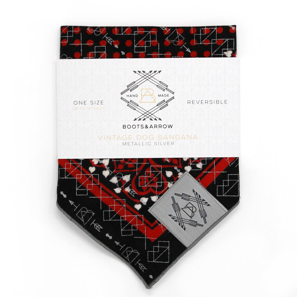 Black + Red Vintage Heart Dog Bandana With Metallic Silver Screen Printing