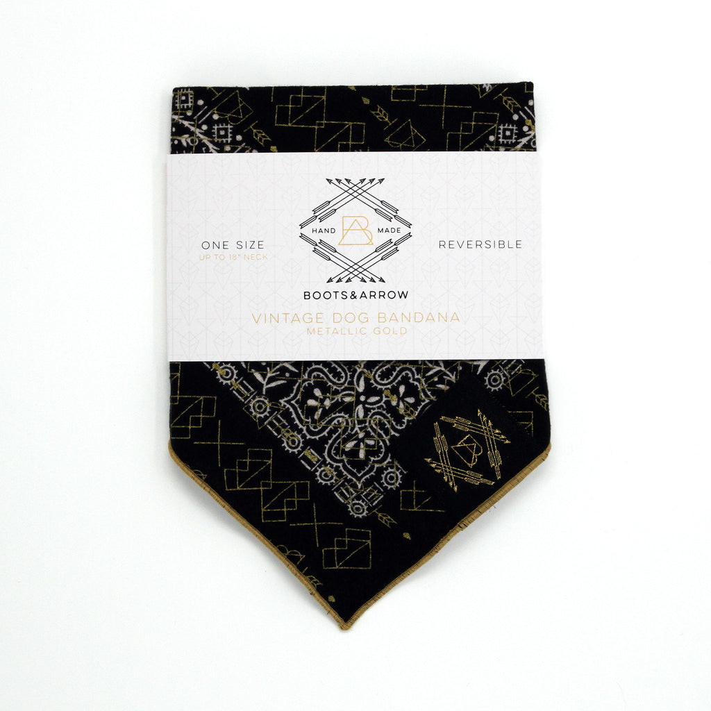 Black Vintage Dog Bandana with Metallic Gold Screen Printing