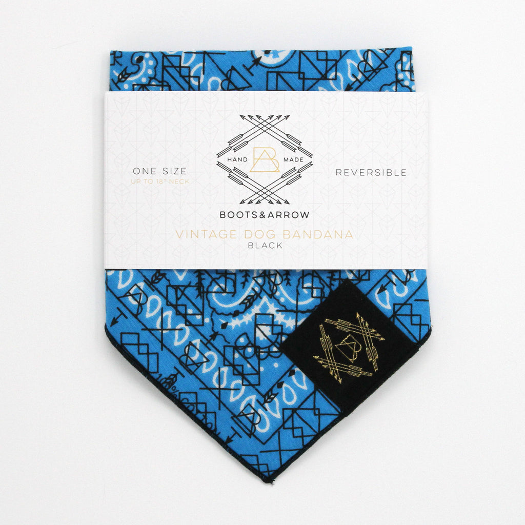 Bright Blue Vintage Dog Bandana With Black Screen Printing