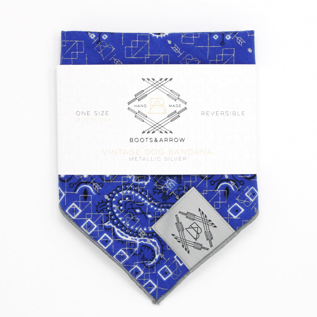 Bright Blue Vintage Dog Bandana With Metallic Silver Screen Printing