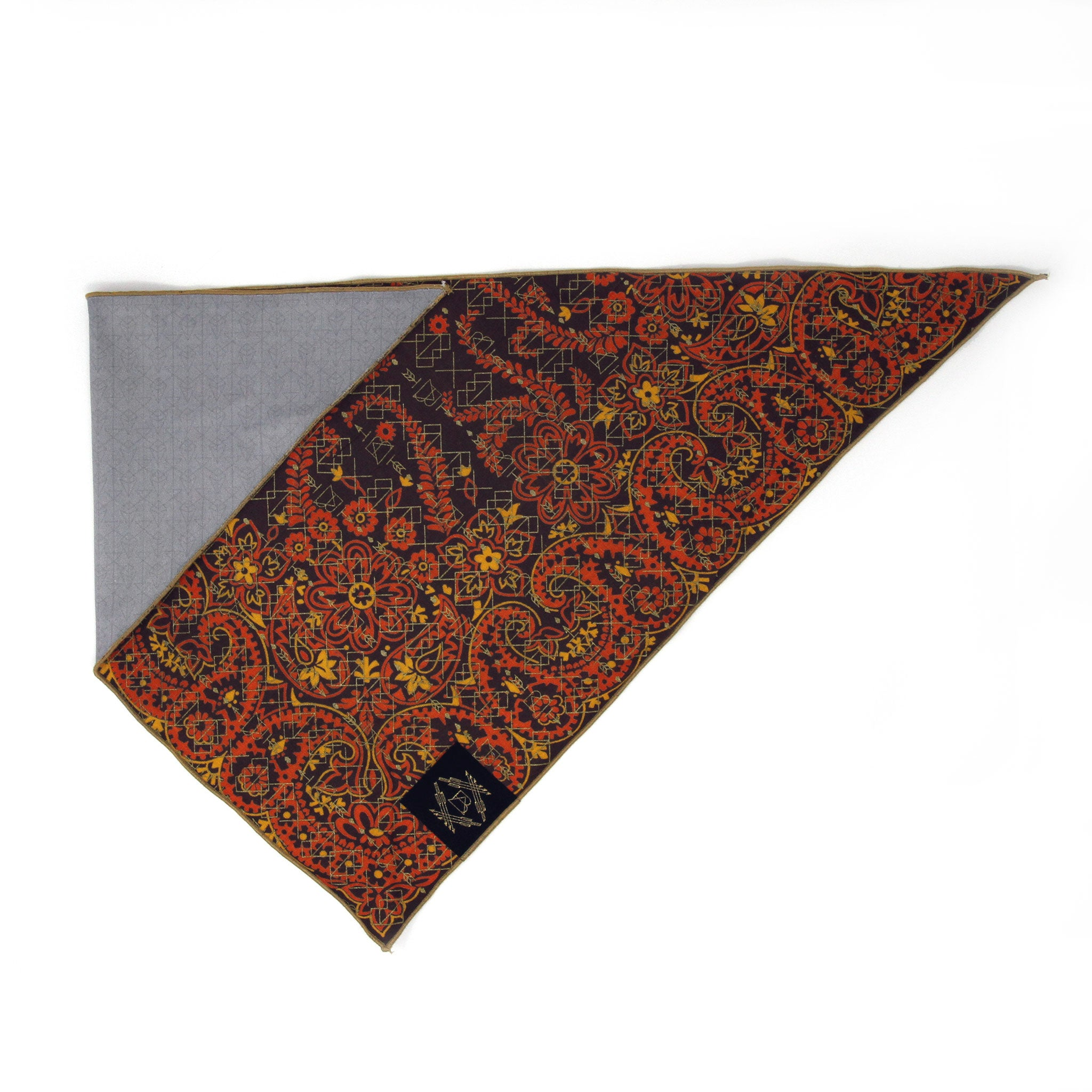 Brown + Orange Vintage Dog Bandana with Metallic Gold Screen Printing