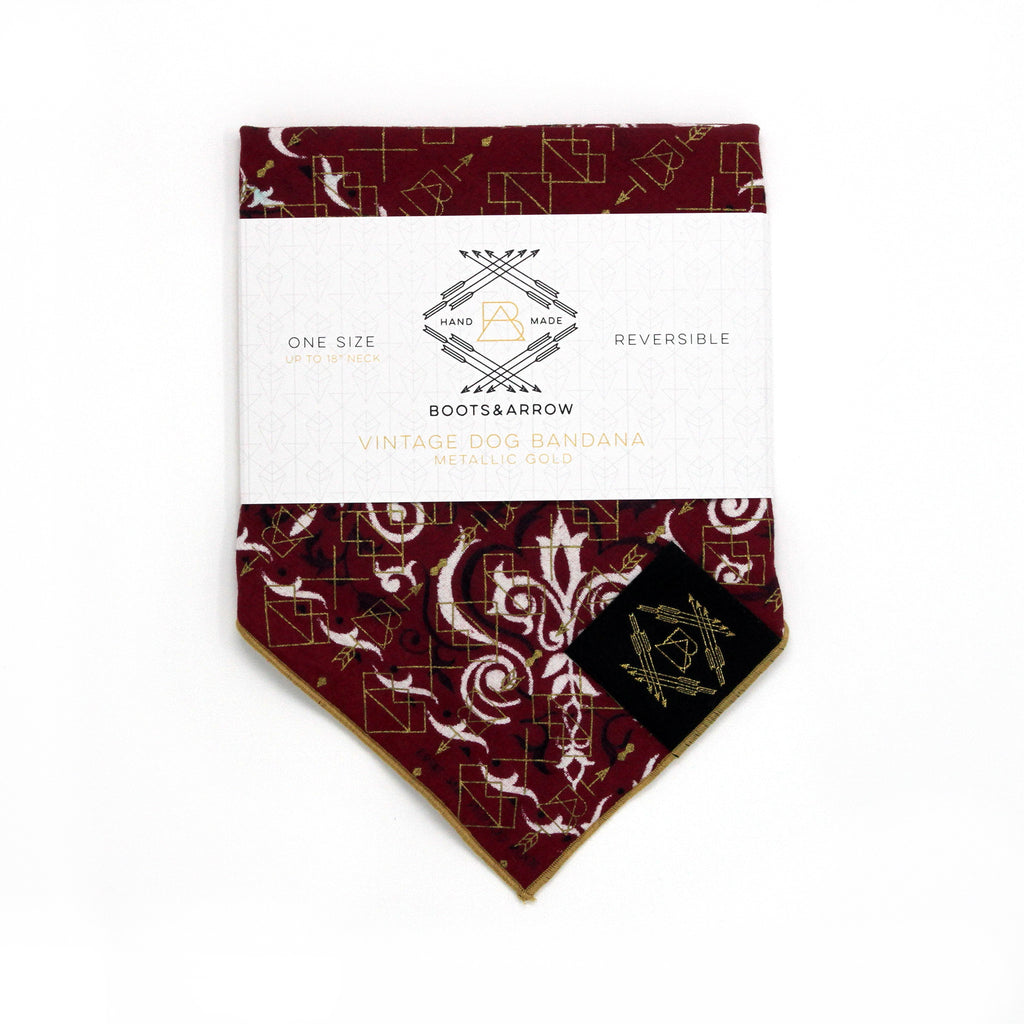 Burgundy Vintage Dog Bandana with Metallic Gold Screen Printing