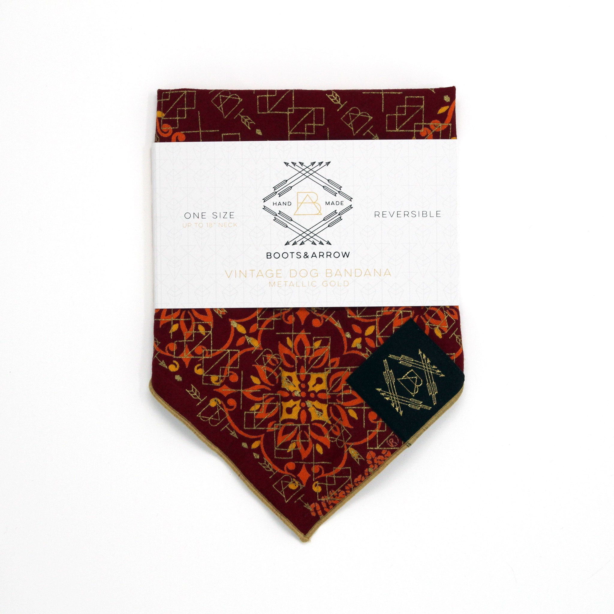 Burgundy + Orange Vintage Dog Bandana with Metallic Gold Screen Printing