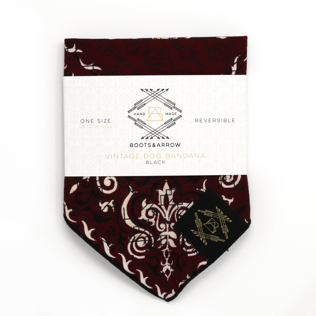 Burgundy Red Vintage Dog Bandana With Black Screen Printing