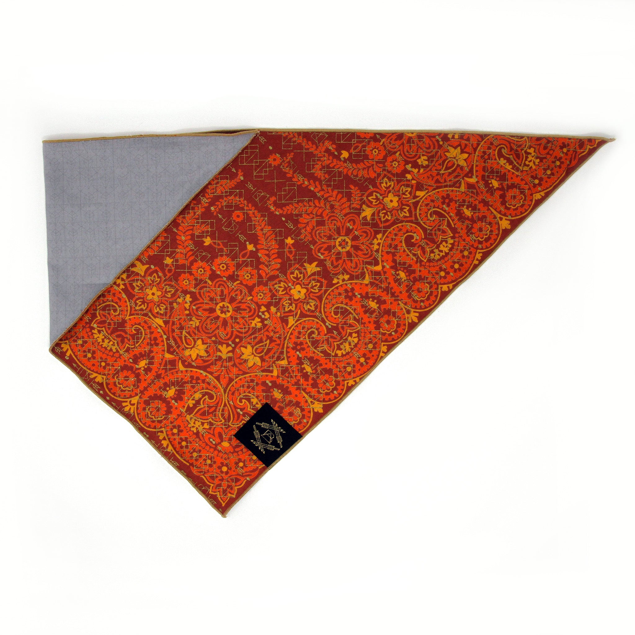 Burnt Orange Vintage Dog Bandana with Metallic Gold Screen Printing