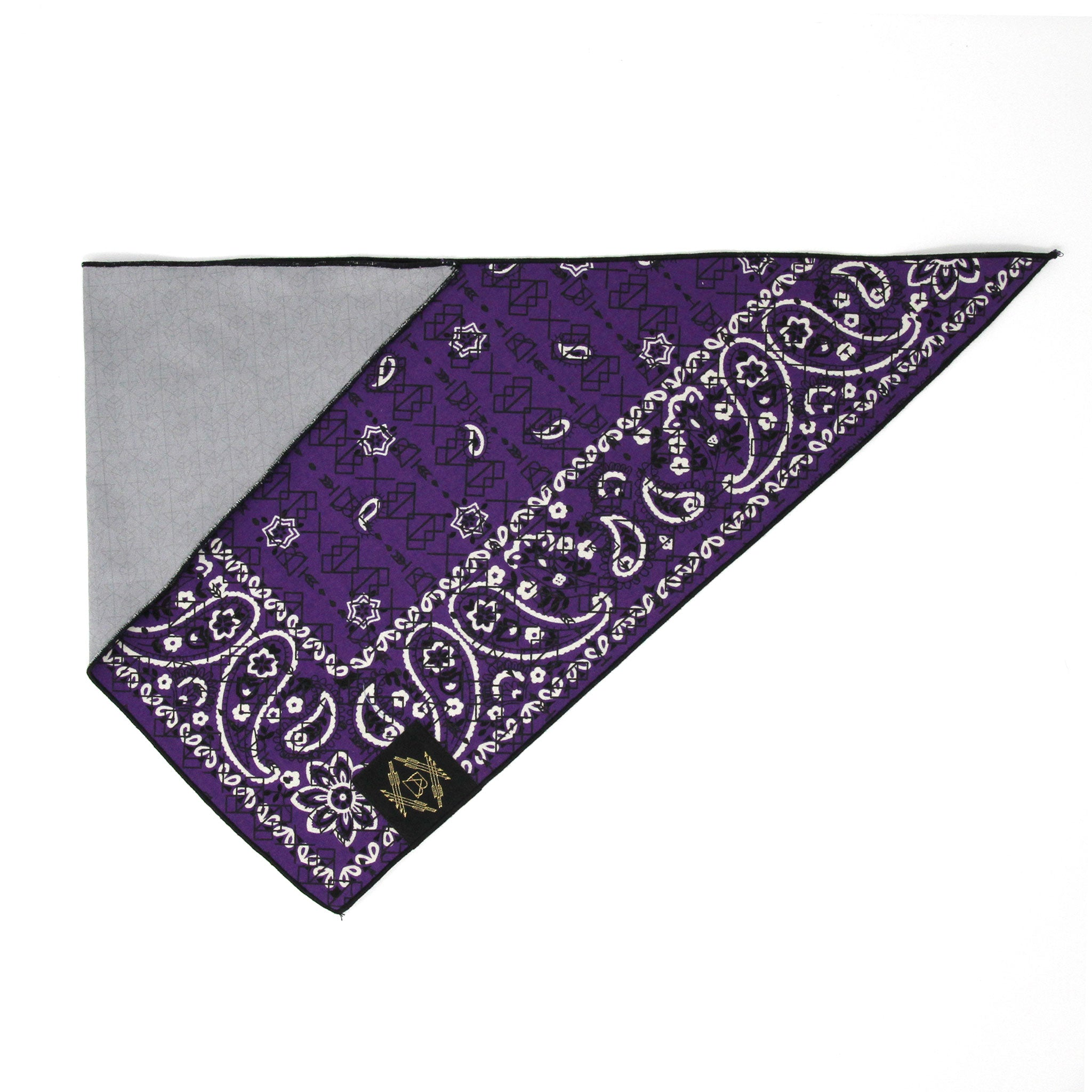 Dark Purple Vintage Dog Bandana With Black Screen Printing