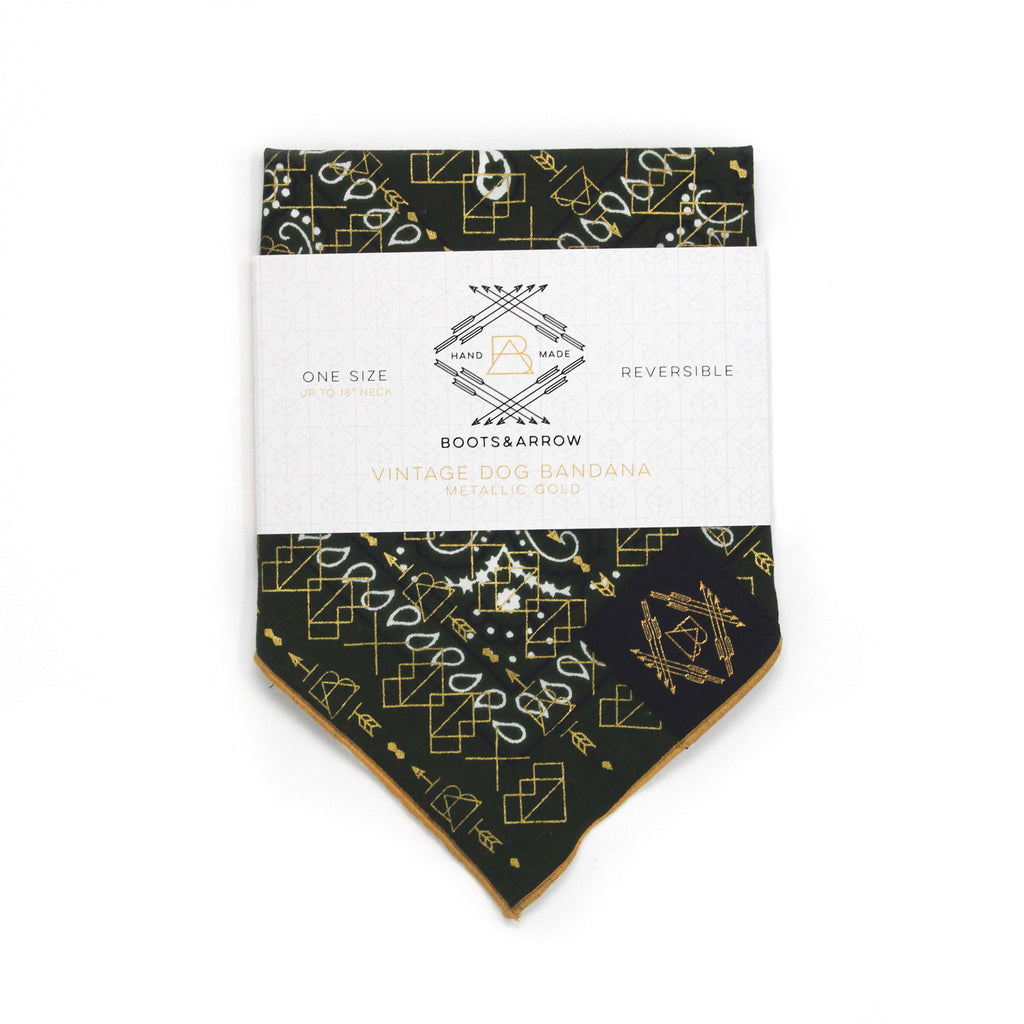 Deep Green Vintage Dog Bandana with Metallic Gold Screen Printing