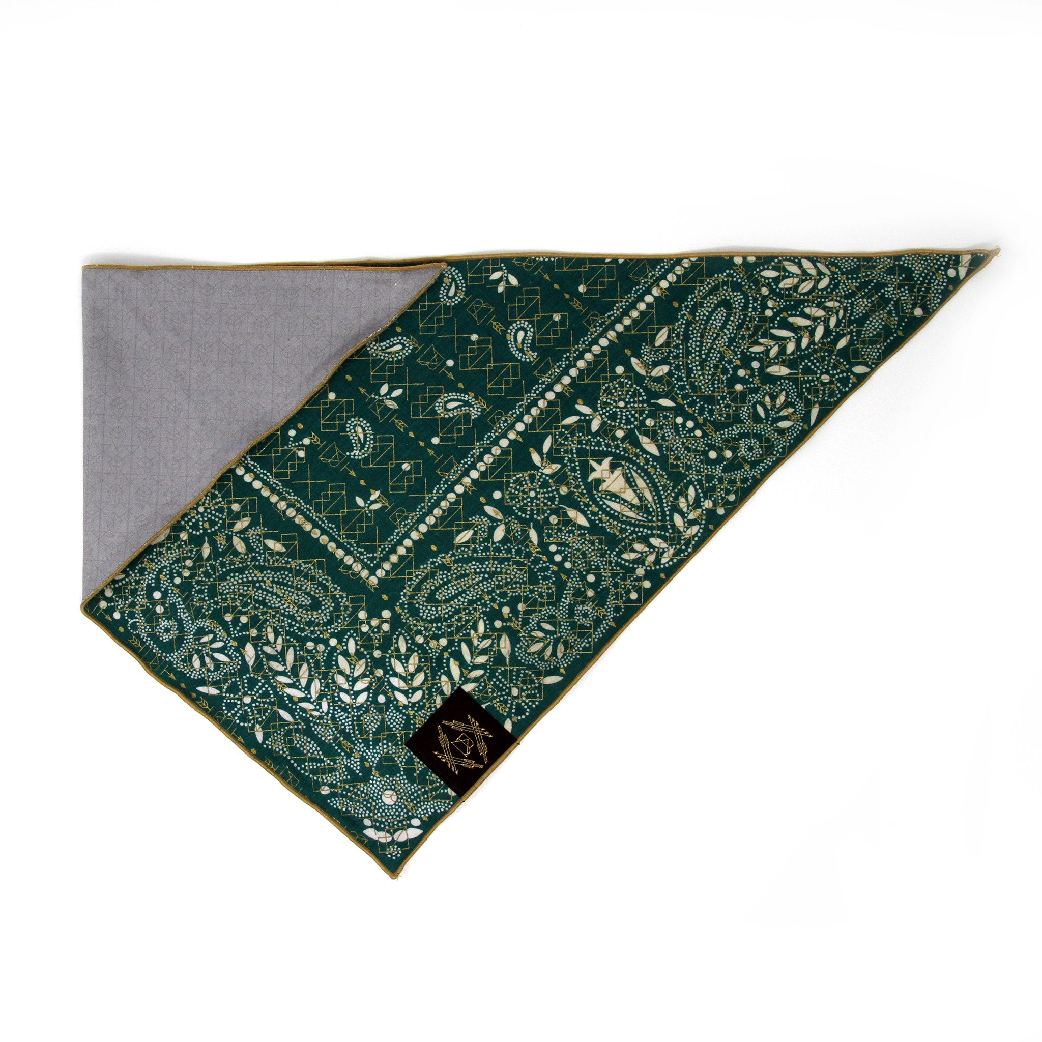 Emerald Green Vintage Dog Bandana with Metallic Gold Screen Printing