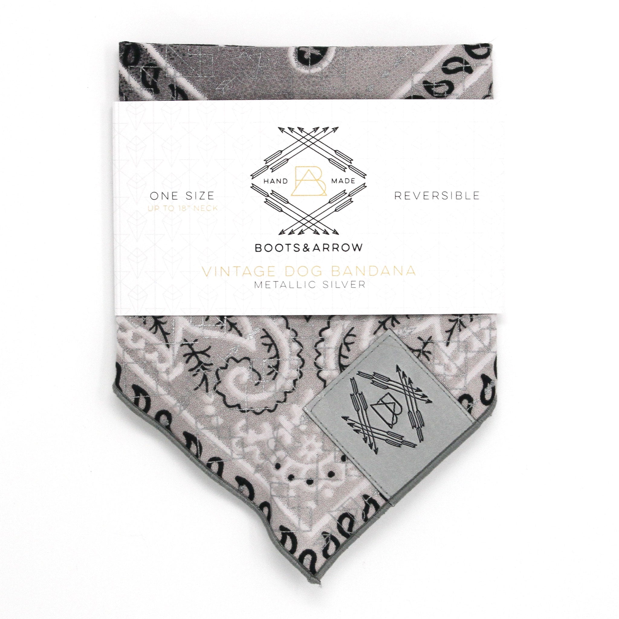 Gray Ombré Vintage Dog Bandana With Metallic Silver Screen Printing