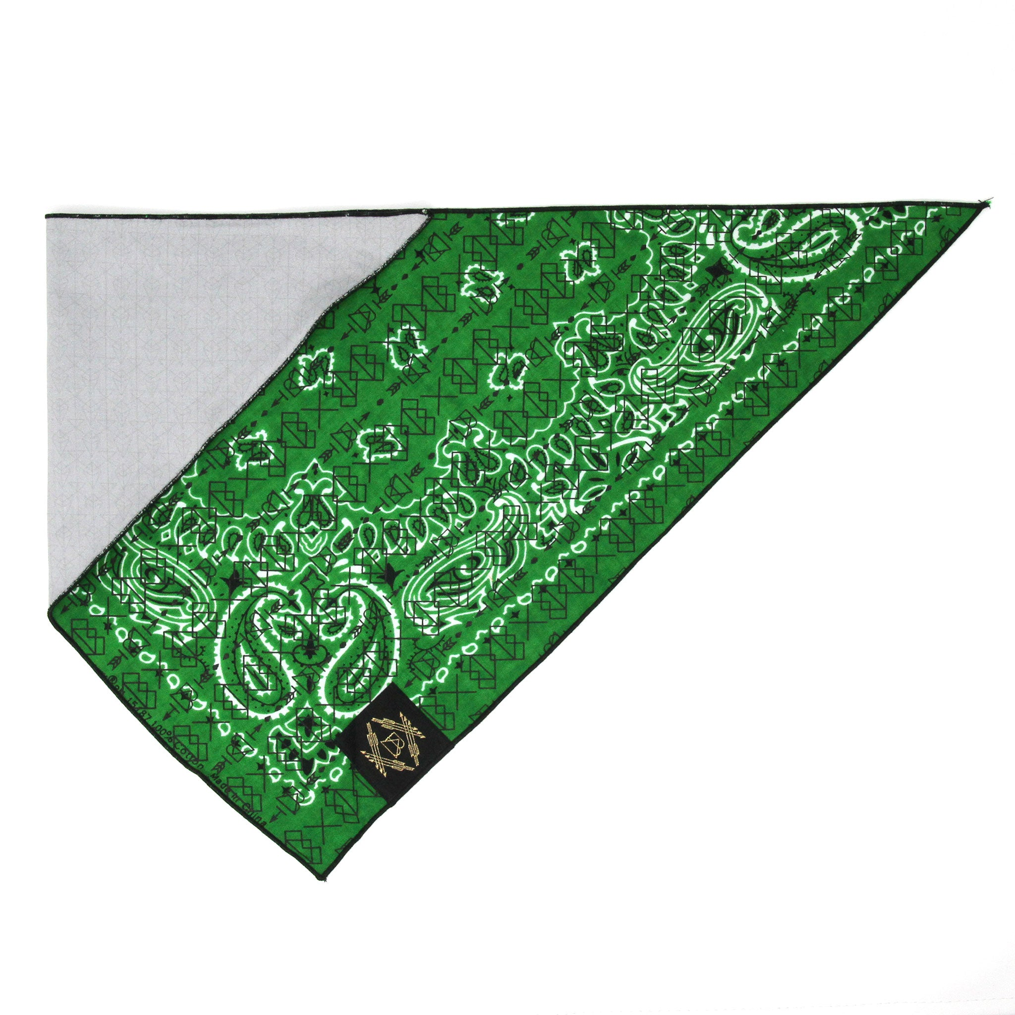 Green Vintage Dog Bandana With Black Screen Printing