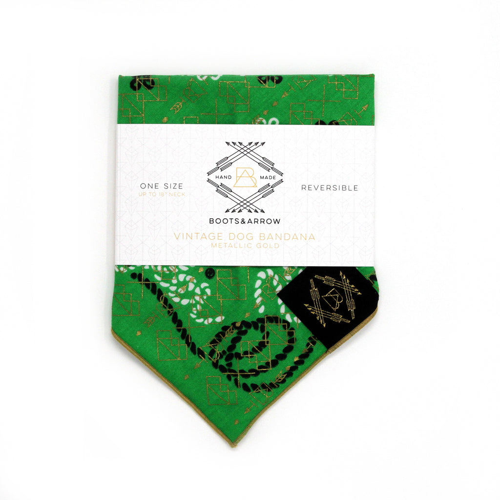 Green Vintage Dog Bandana with Metallic Gold Screen Printing