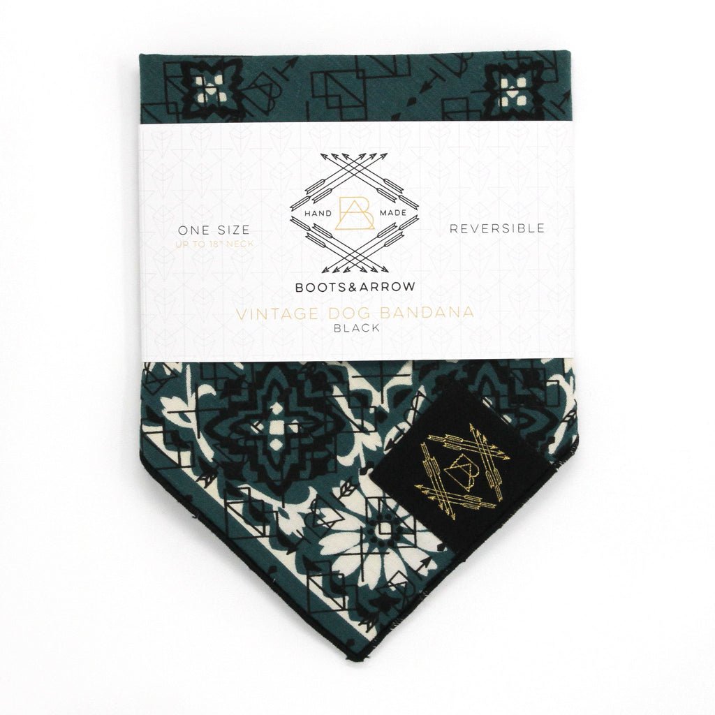 Hunter Green Vintage Dog Bandana With Black Screen Printing