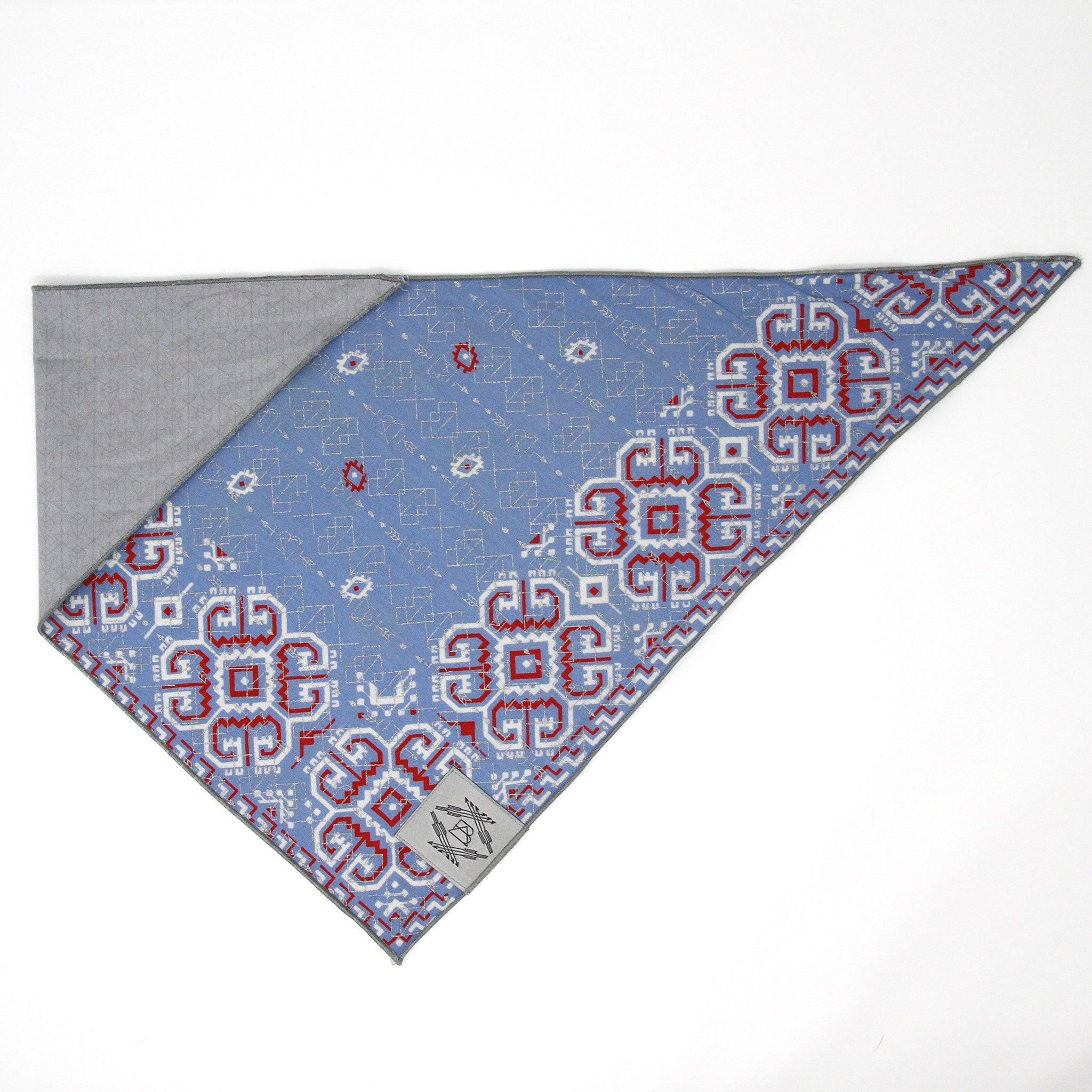 Light Blue + Red Vintage Dog Bandana With Metallic Silver Screen Printing