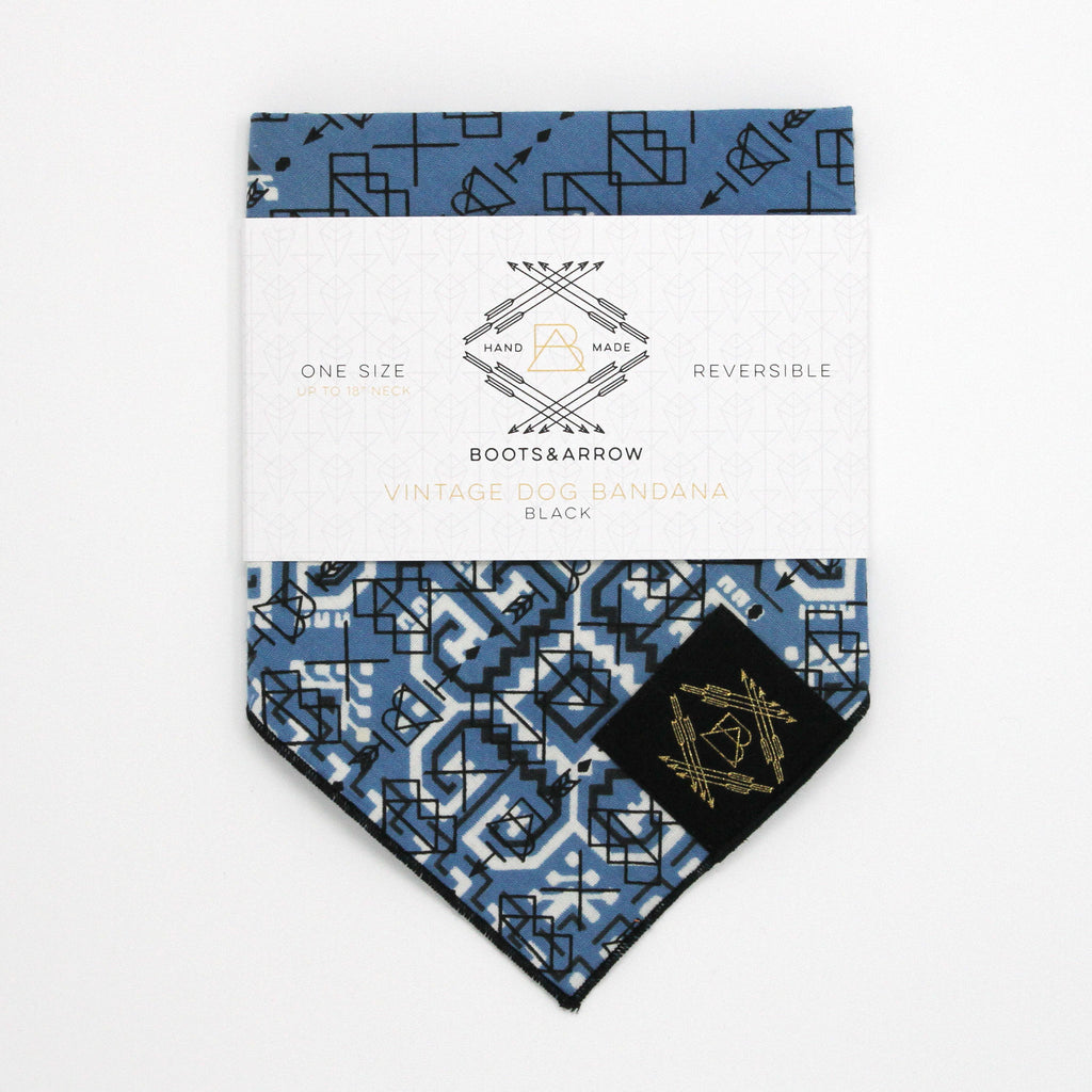 Light Blue Vintage Dog Bandana With Black Screen Printing