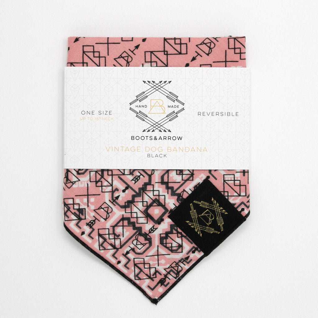 Light Pink Vintage Dog Bandana With Black Screen Printing