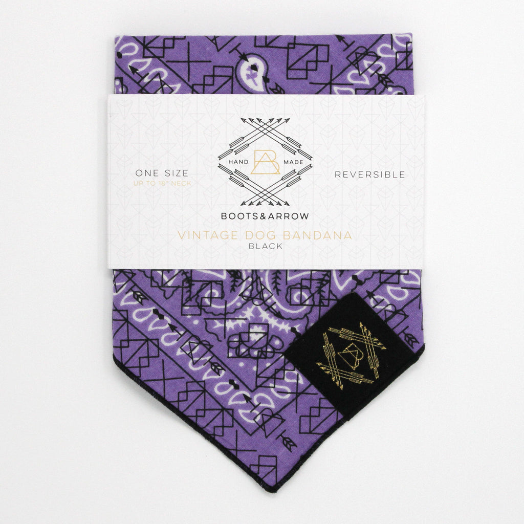 Light Purple Vintage Dog Bandana With Black Screen Printing