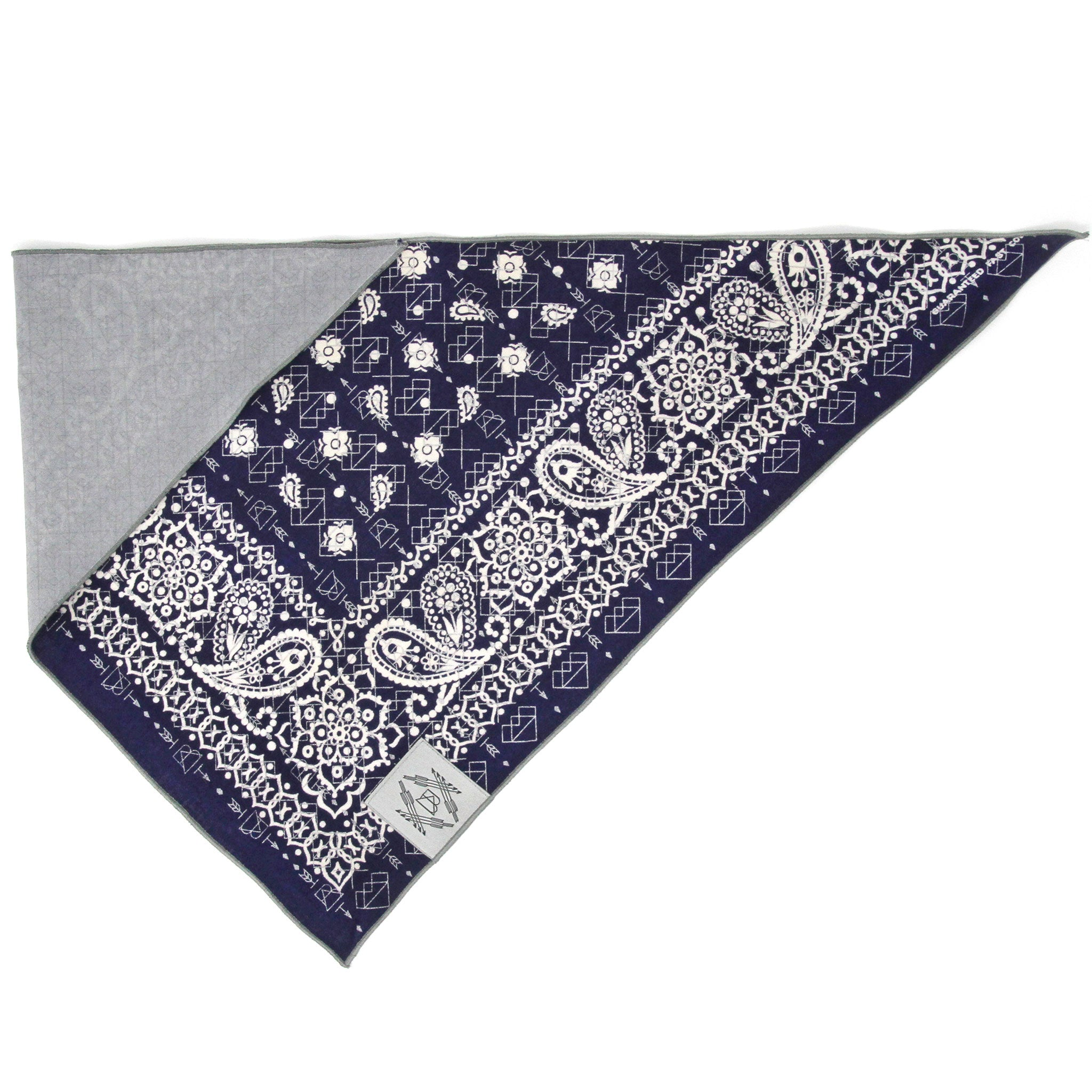 Classic Navy Blue Vintage Dog Bandana With Metallic Silver Screen Printing