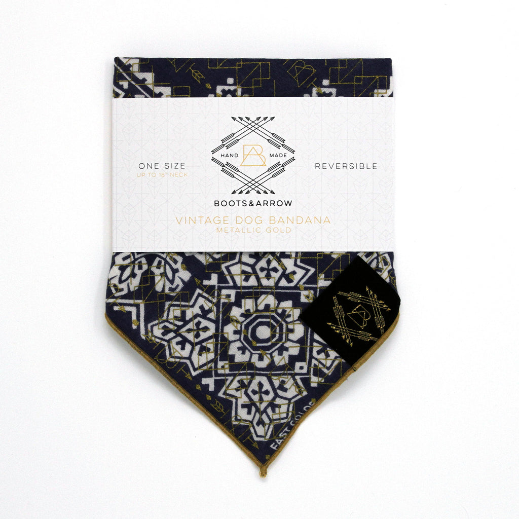 Navy Vintage Dog Bandana with Metallic Gold Screen Printing