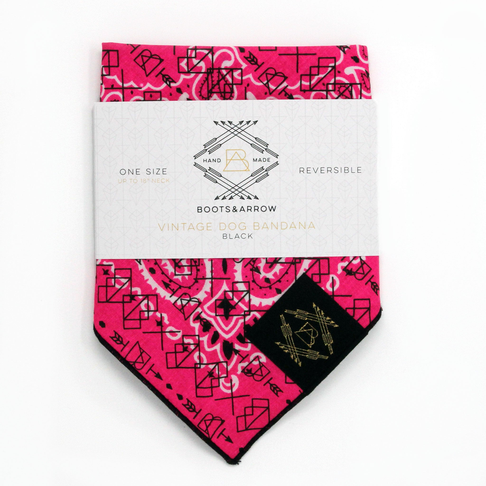 Neon Pink Vintage Dog Bandana With Black Screen Printing