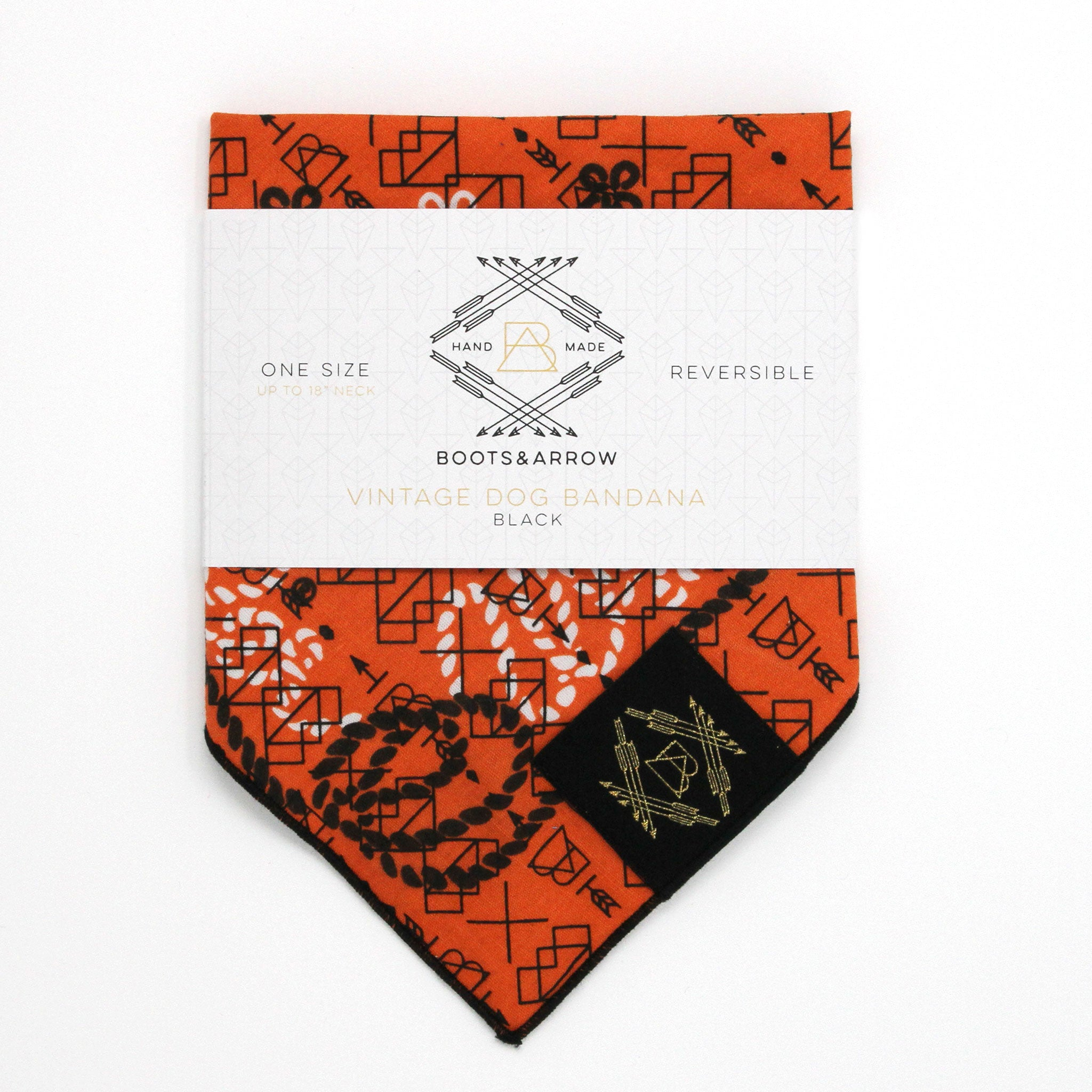 Orange Vintage Dog Bandana With Black Screen Printing